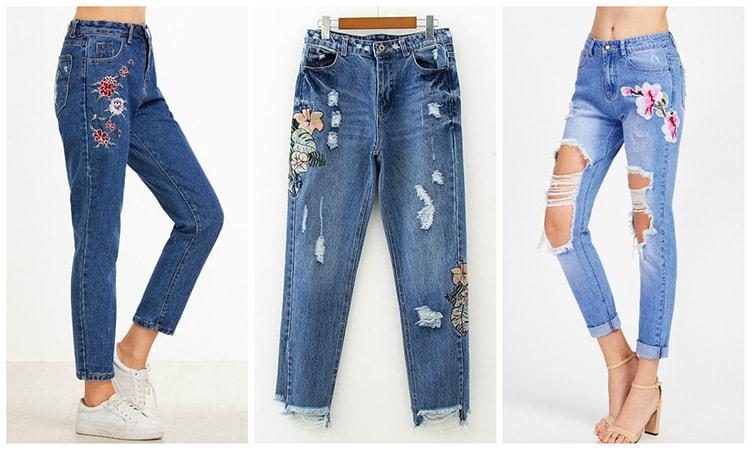 Рваные джинсы с вышивкой