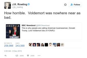 Роулинг критикует Трампа